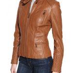 Designer Womens Brown Leather Motorcycle Jacket