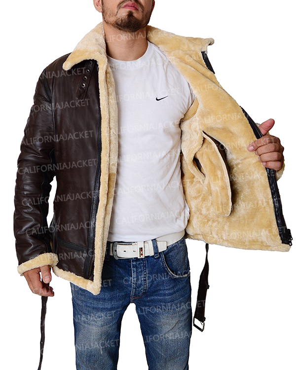 Tom Hardy Dunkirk Shearling Brown Leather Farrier Jacket