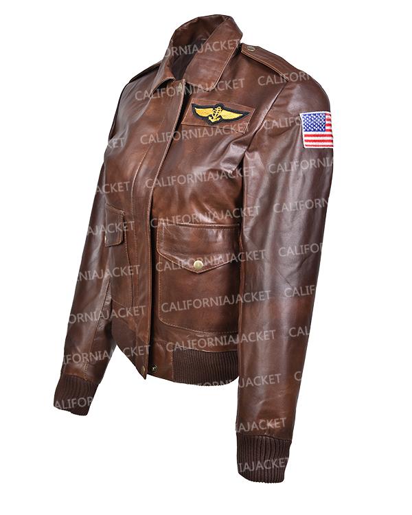captain marvel brie larson bomber brown leather jacket