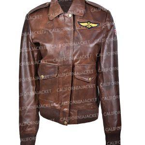captain marvel brie larson flight leather jacket