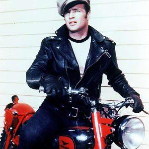 johnny strabler the wild one marlon brando black leather biker jacket