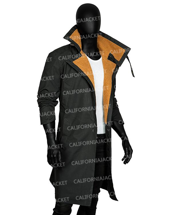 ryan gosling blade runner 2049 officer k trench leather shearling coat