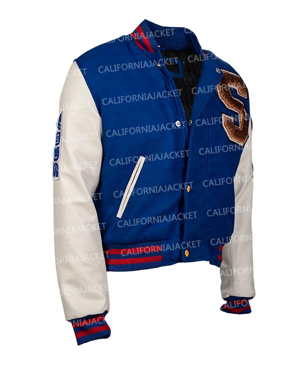 sonic hedgehog blue and white bomber jacket