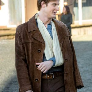 aren buchholz when calls the heart jesse flynn brown leather jacket