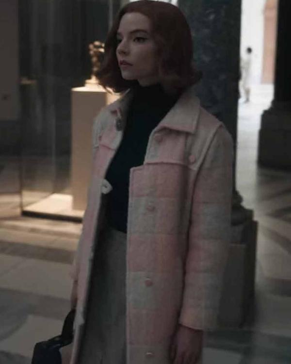 beth harmon pink shearling coat