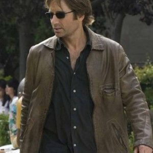 californication david duchovny brown leather jacket