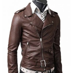 slim-fit-belted-brown-leather-jacket