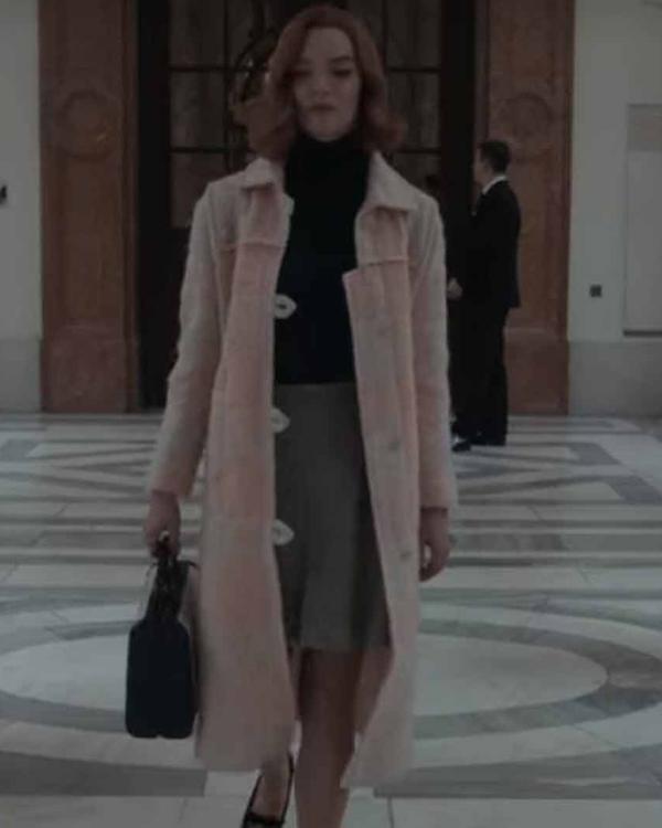 the queen's gambit beth harmon pink coat