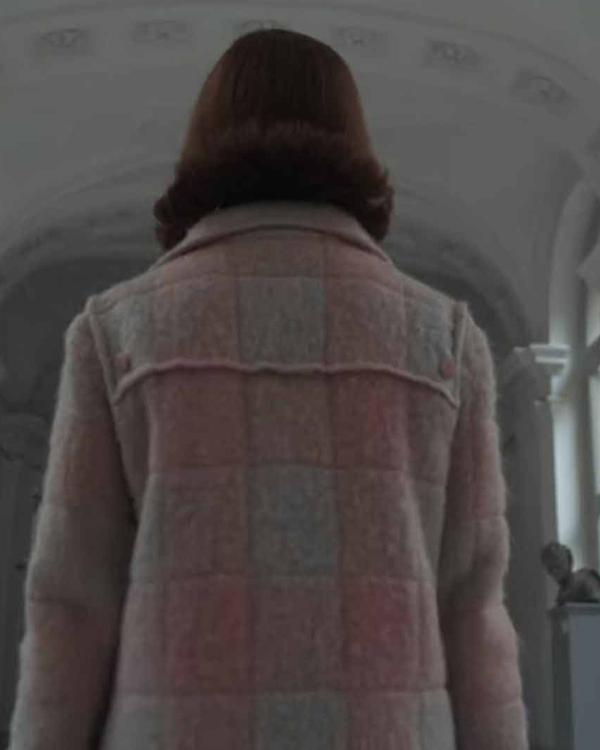 the queen's gambit white and pink coat