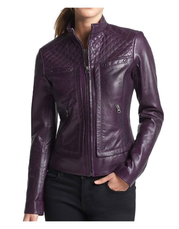 women's quilted purple biker leather jacket