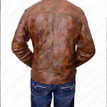 Men Vintage Cafe Racer Brown Leather Jacket