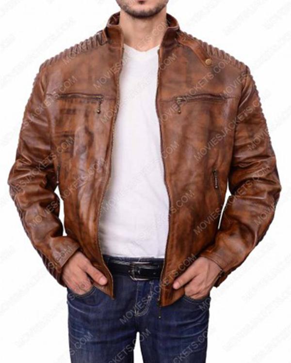Motorcycle Men Vintage Cafe Racer Brown Leather Jacket