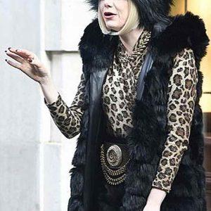 cruella de vil cruella 2021 emma stine black fur trench coat