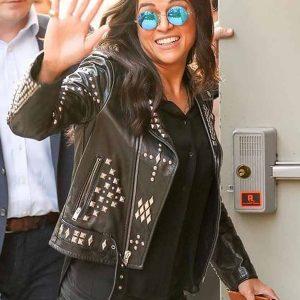 f9 michelle rodriguez studded BLACK leather jacket