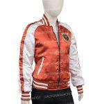 karen-gillan-gunpowder-milkshake-orange-and-white-jacket