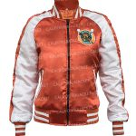 karen-gillan-gunpowder-milkshake-white-and-orange-satin-jacket