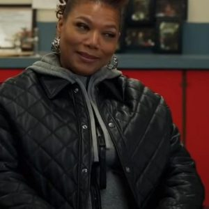 the equalizer robyn mccall black quilted leather jacket