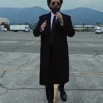 the weeknd black wool trench coat