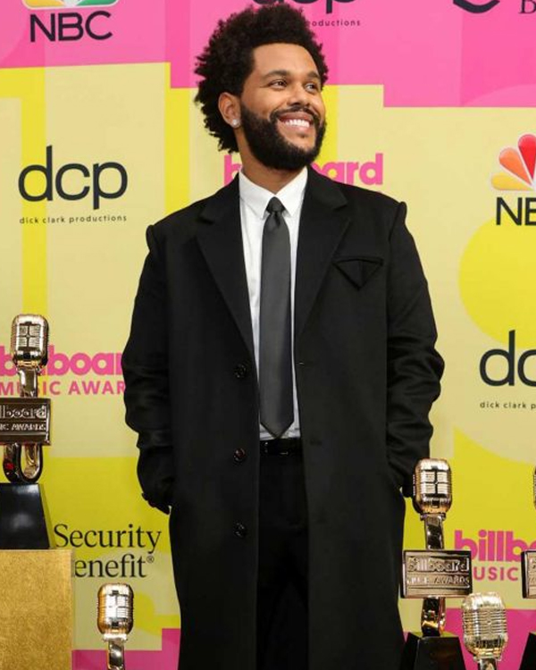 the weeknd save your tears music awards 2021 trench coat