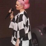 Anne-Marie-Our-Song-2021-Plaid-Black-And-White-Jacket