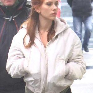 black widow scarlett johansson white hooded jacket