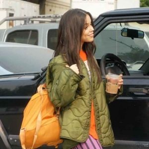jenna ortega the fallout 2021 quilted jacket