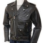 kanye west motor biker style black leather jacket