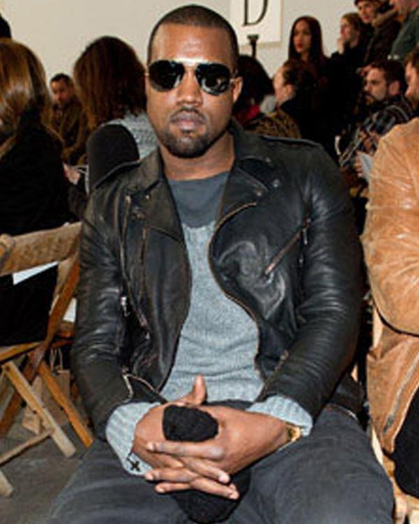 kanye west motor biker style black leather jacket for mens