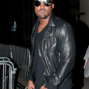 kanye west motor style black leather jacket
