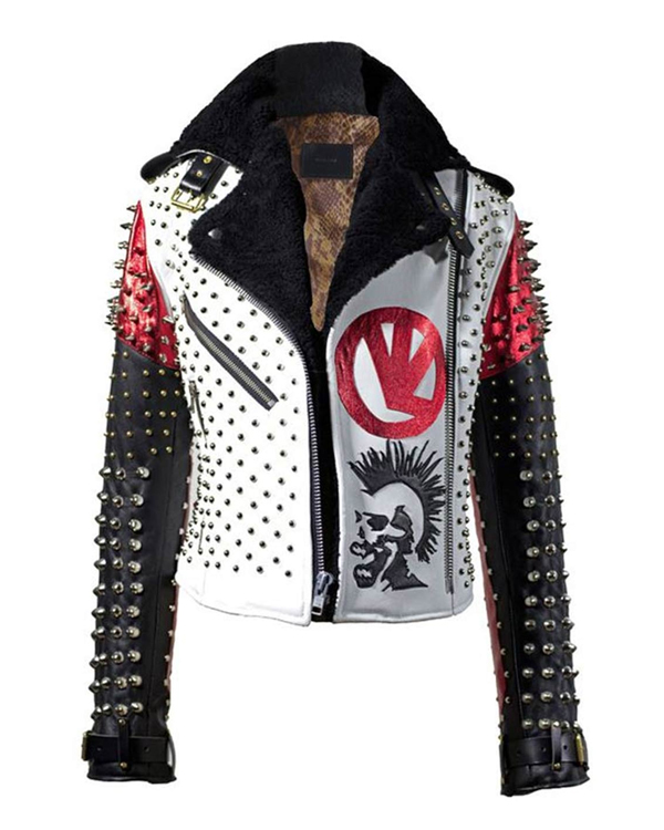 men's studded and spikes leather jacket