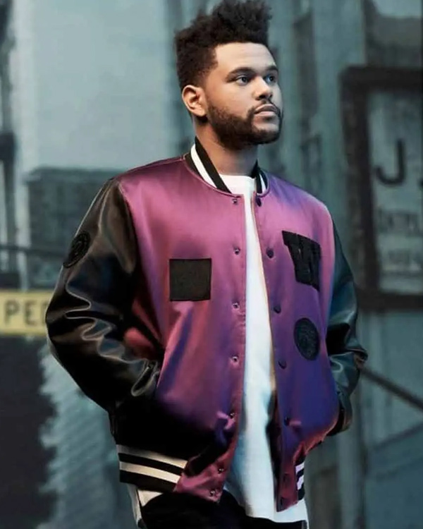 the weeknd purple letterman jacket with leather sleeves
