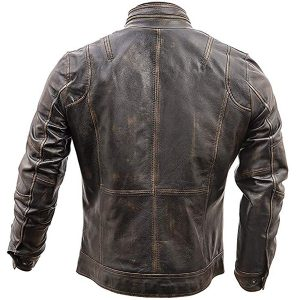 Mens Motorcycle Biker Vintage Distressed Brown Cafe Racer Jacket