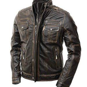 Mens Vintage Distressed Brown Cafe Racer Leather Jacket