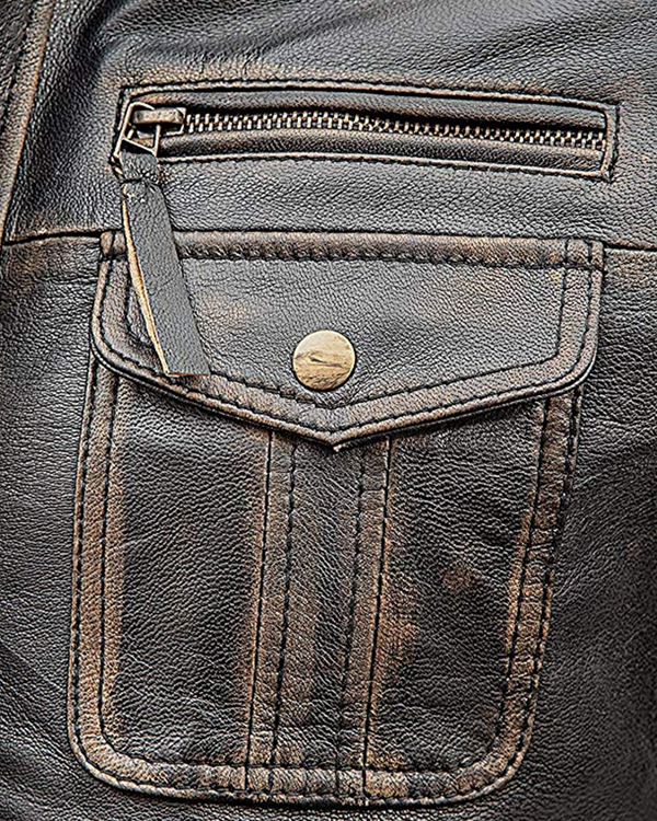 Mens Motorcycle Biker Vintage Distressed Brown Leather Jacket
