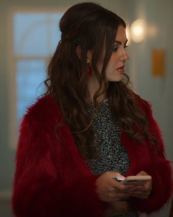 Cassie Afterlife of the Party 2021 Victoria Justice Red Fur Jacket