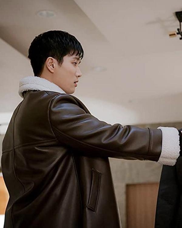 Geun Won Brown Shearling Leather Coat