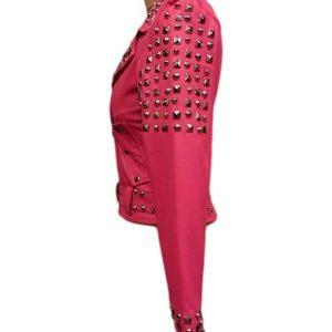 Pink Biker Golden Studded Leather Jacket