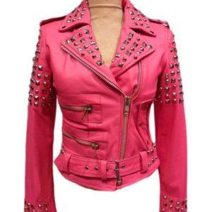 Womens Pink Biker Golden Studded Leather Jacket