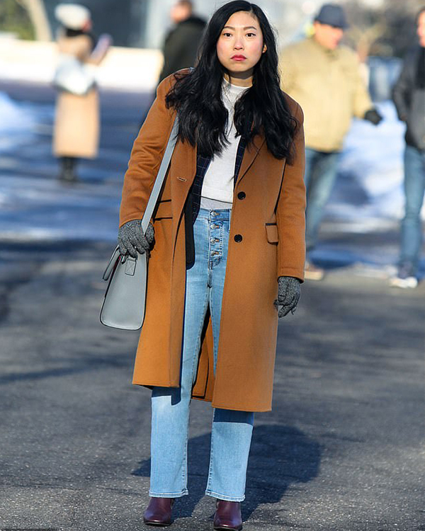 Awkwafina is Nora From Queens Camel Coat