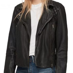 You Have to Play Along Jenny Hoyt Black Quilted Leather Jacket